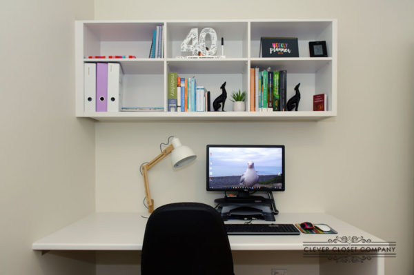 Desk with Overhead Shelving